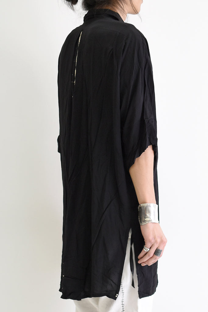 1901-SH03B Tesla Rayon Lazy Shirt Black