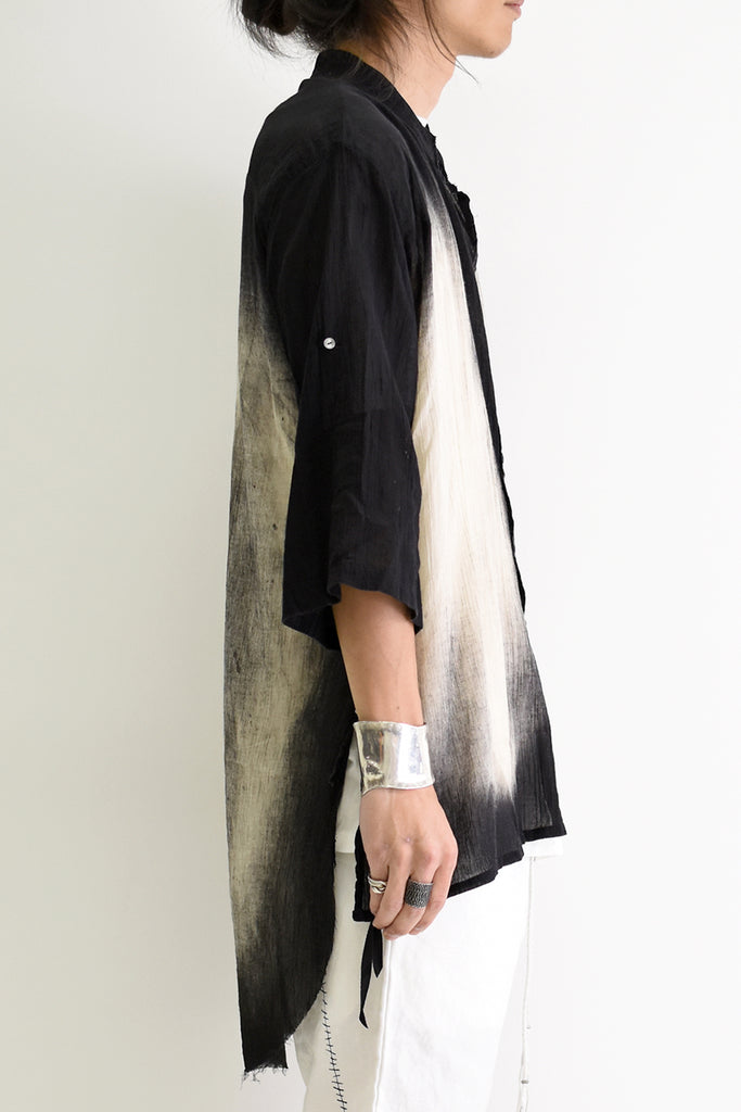 1901-SH01D Oversized Discharged Crepe Shirt Black