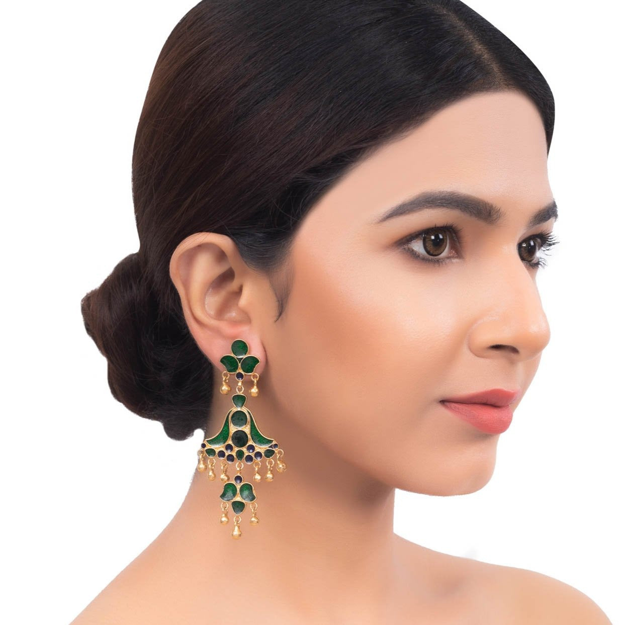 Elegant Green Stones Long Earrings