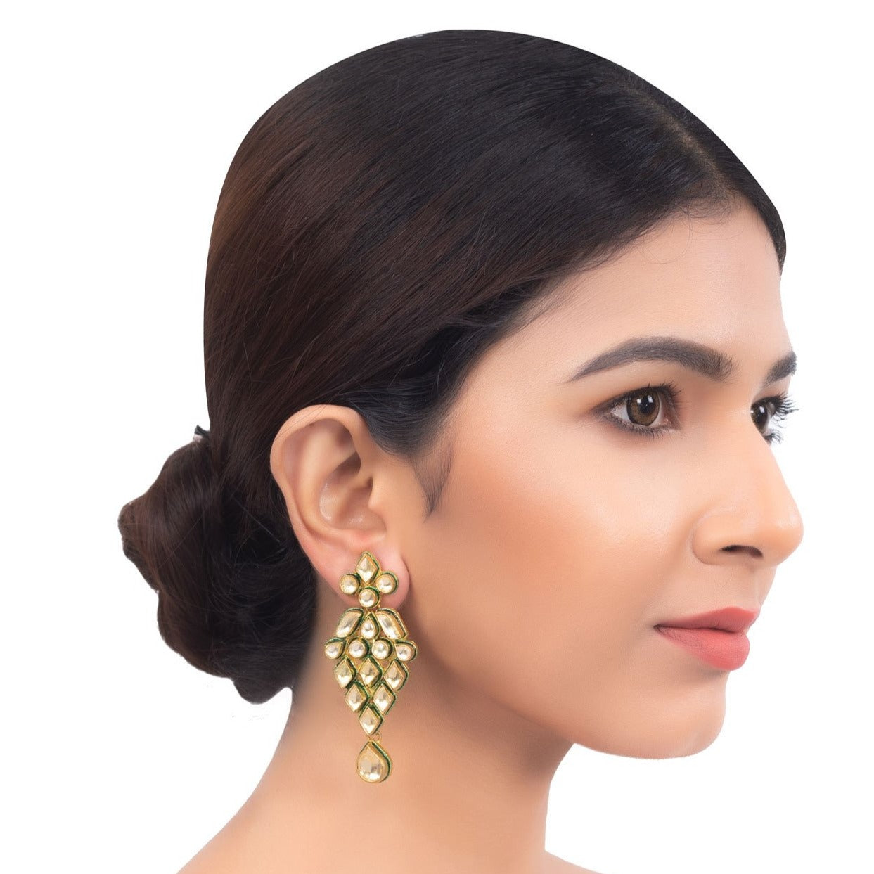 Polki Chandelier Long Earrings