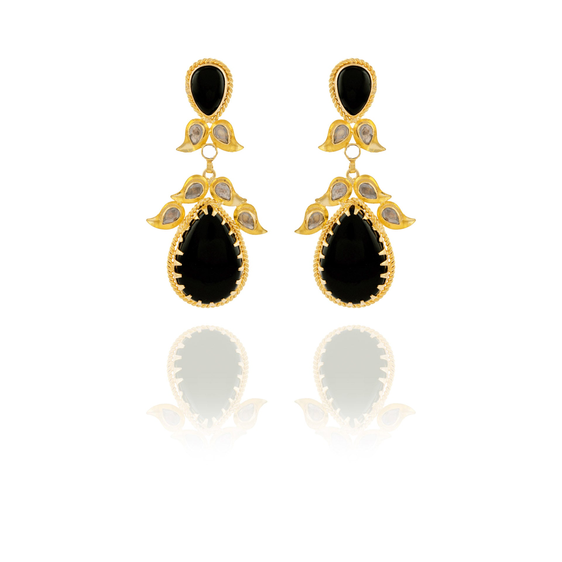 Bold and Iconic Black Drop Long Earrings