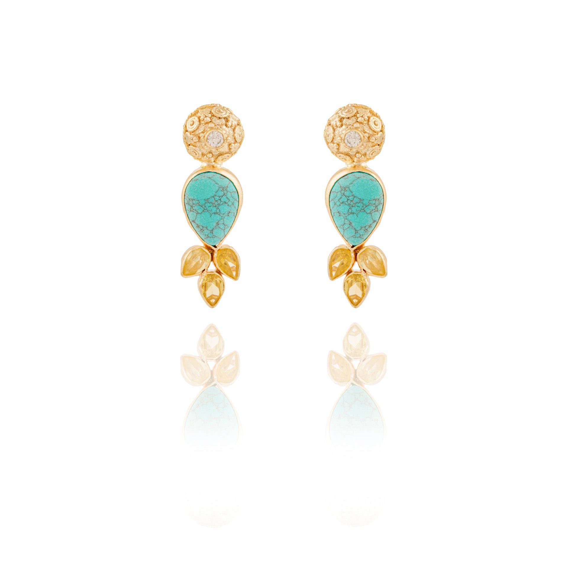 Turquoise and Golden Teardrop Earrings