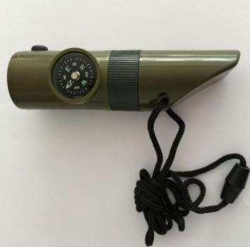 Camping Survival Whistle With Compass Thermometer Flashlight Magnifier