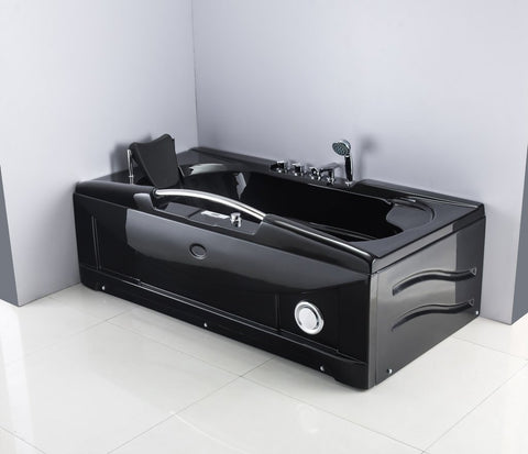 1 Person Jetted Whirlpool Tub Massage Hydrotherapy Bathtub Tub Indoor - 001A BLACK