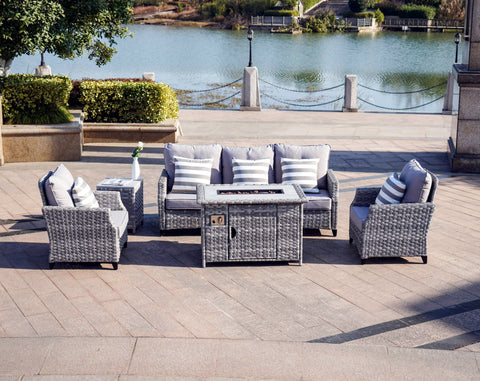 Modern Grey Wicker 5 Piece Outdoor Patio Furniture Set (3 seater sofa) with Gas Fire Pit