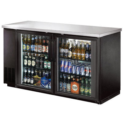 2 Door Back Bar Beer Bottle Cooler with Stainless Steel Top and LED Lighting
