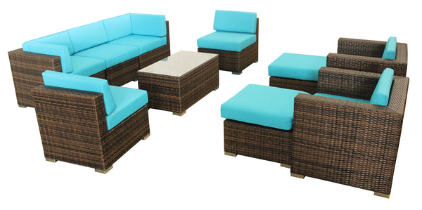 10 Piece Outdoor Wicker Patio Furniture Set Rattan San