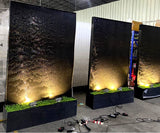 "79"" Tall x 49.5' Waterfall Wall Cascading Floor Water Fountain w/ LED Lights"