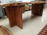 "94.5"" Long Solid Acacia Wood Live Edge Dining Table with Solid Wood Legs"