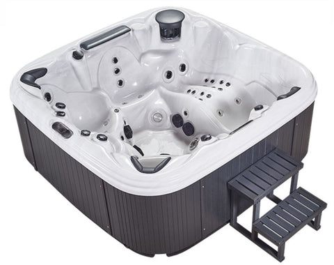 6 Person Outdoor Hot Tub Whirlpool Jacuzzi Spa 110 Jets + Lounger