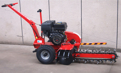 "15HP Gas Powered Walk Behind Trencher Digger 24"" Depth 27 Tooth"