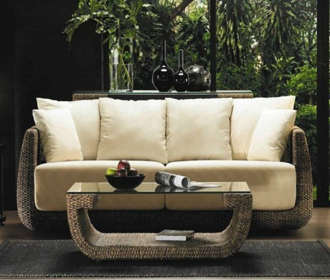 "Large 72"" Long Hyacinth Wicker / Rattan Indoor Couch Sofa"