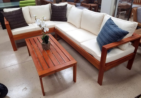 Solid Wood Indoor / Outdoor Sectional Sofa + Coffee Table
