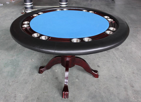Mahogany Round Texas Holdem Poker Game Table Solid Wood - Blue or Green