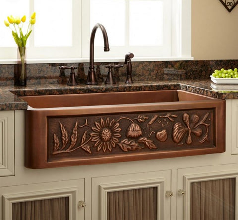 "36"" Floral Design Copper Farmhouse Kitchen Sink Single Bowl"
