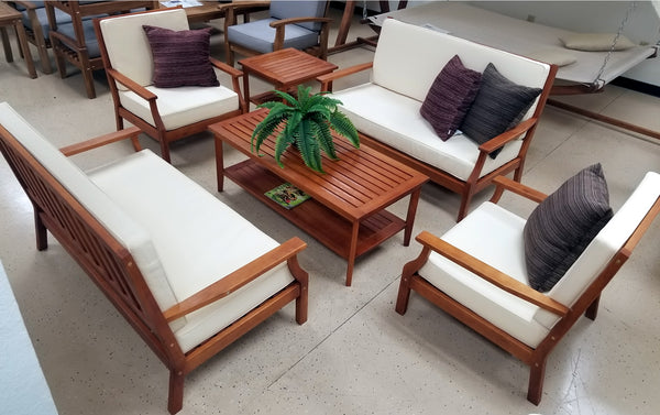 6 Piece Indoor Outdoor Solid Wood Patio Furniture Set