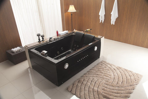 2 Person Jetted Whirlpool Massage Hydrotherapy Bathtub Tub Indoor 051A - BLACK