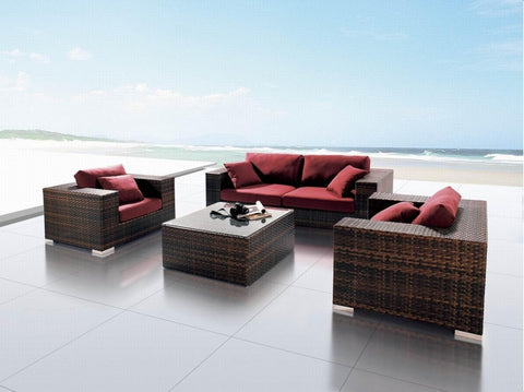 King Size 4 Piece Outdoor Wicker Patio Furniture Set