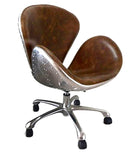 High End Designer Full Leather Aviation Swan Office Chair Aluminum Back w/ Rivets