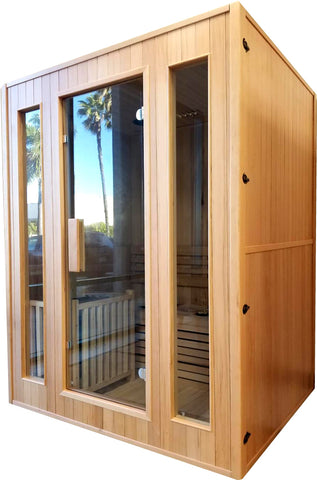 3 Person Canadian Hemlock Traditional Swedish Wet / Dry Steam Sauna SPA Indoor - SYM03SS