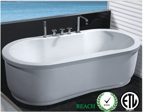 Hydrotherapy Whirlpool Jetted Bathtub Indoor Soaking Hot Bath Tub Freestanding - 037A
