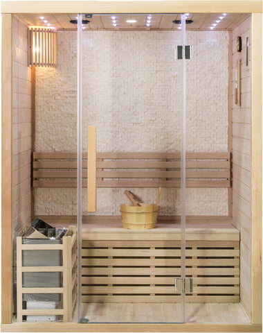 2 Person Canadian Hemlock Glass Front Swedish Wet Dry Traditional Steam Sauna