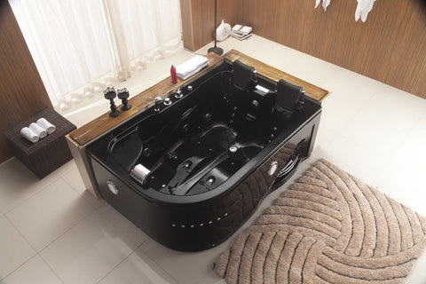 indoor jetted whirlpool bathtub hot tub spa black 2 person 052a black - Whirlpool Bathtub