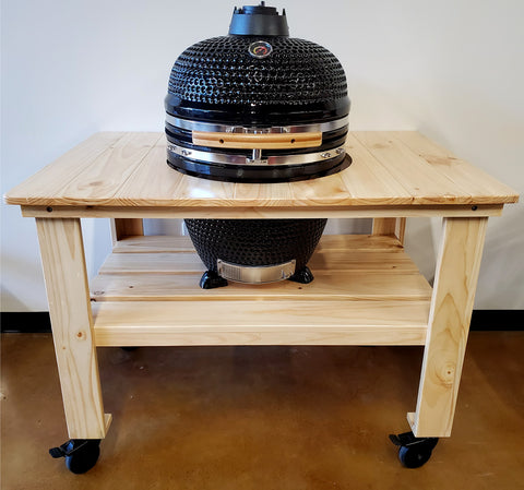 "Large 21"" Ceramic Egg Kamado BBQ Grill Smoker w/ Wood Table Pizza Stone"