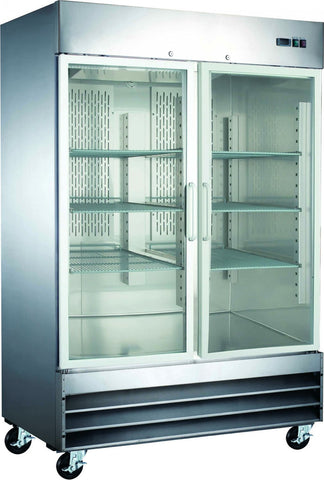 2 Door Glass Front Commercial Refrigerator Reach-In Merchandiser CFD-2RR-G