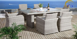 7 Piece Rectangle Glass Top Grey Wicker PE Rattan Outdoor Dining Set
