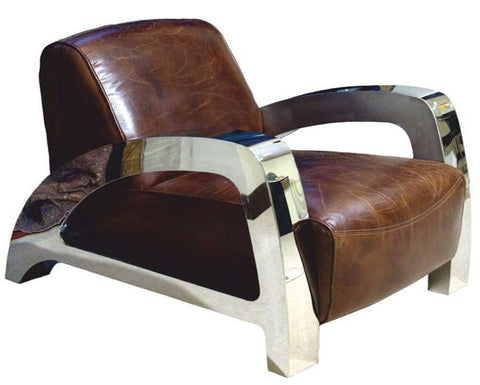 Full Cowhide Leather Retro Vintage Retro Aviator Chair Home / Office