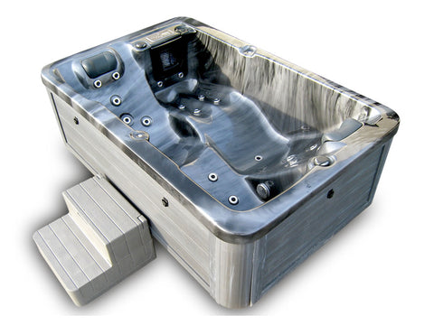 2 Person Indoor / Outdoor Grey Marble Hydrotherapy Hot Tub / Spa + Cover - SYM-BTA2G