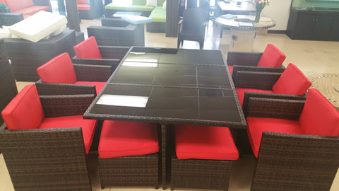 ... 13 Piece Outdoor Glass Wicker Dining Table Furniture Set ...