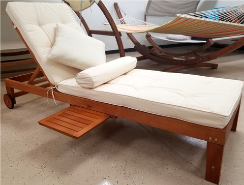 Solid Wood Outdoor Patio Pool Lounger w/ Sliding Tray Table