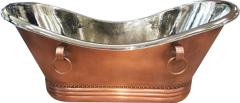 "72"" Copper Soaking Bathtub Tub w/ Nickel Interior Hammered Exterior"