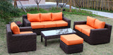 Big Sur Full Round Weave 6 Piece Outdoor Wicker Patio Furniture Set