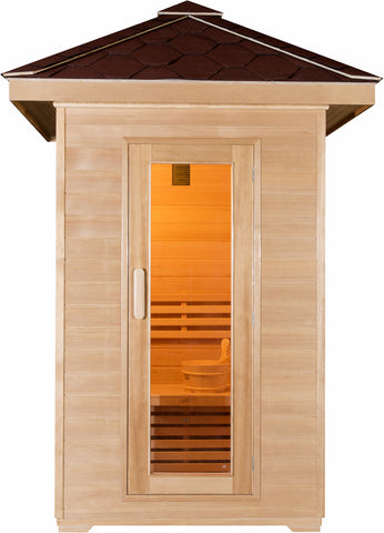 2 Person Outdoor Wet / Dry Swedish Steam Traditional Sauna Canadian Hemlock