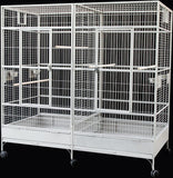 Large Double Macaw Parrot Cockatoo Bird Breeder Pet Cage w/ Divider - White Vein Finish