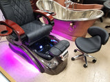 Salon Shiatsu Massage Pedicure Foot Spa Chair w/ Pipeless Tub Basin Tub (CREAM WHITE CHAIR)
