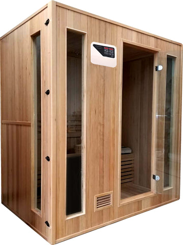 "4 Person 72"" Canadian Hemlock Traditional Swedish Wet Dry Steam Sauna Spa - SYM04SS"