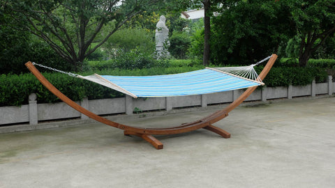 Wooden Arc Hammock Stand + Quilted Double Wood Hammock