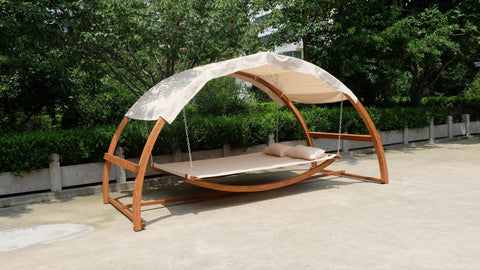 ... Porch Swing Bed Hammock Patio Furniture Hanging Canopy Wood ...
