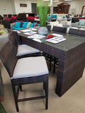 7 Piece PE Rattan / Wicker Outdoor Glasstop Bar Table Stool Set (with cushions)