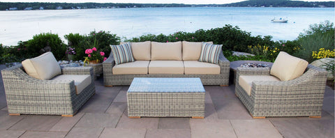 Monterey 4 Piece Sectional Outdoor Wicker Patio Set W/ 2 Club Chairs
