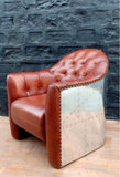 Rare Full Cowhide Tufted Leather Vintage Aluminum Aviator Retro CIGAR Chair Airplane Seat