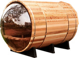Panoramic View Window Canadian Pine Wood 6' Barrel Sauna + 9KW Wet / Dry Heater + Shingled Roof
