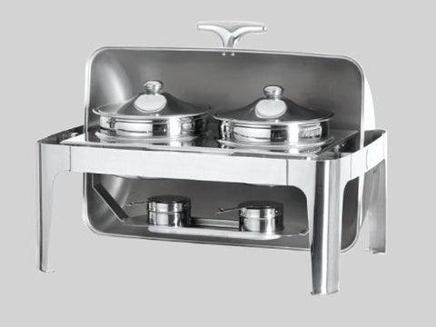 Stainless Steel Double Soup Station Roll Top Chafing Dish Food Warmer Server