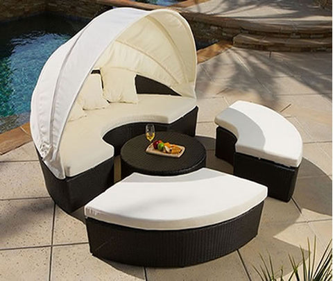 ... Sunbed Outdoor Lounger Canopy Wicker Rattan Day Bed Patio Set ...