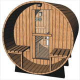 Large 6-8 Person 8' Canadian Red Cedar Barrel Outdoor Wet Dry Swedish Sauna with Porch
