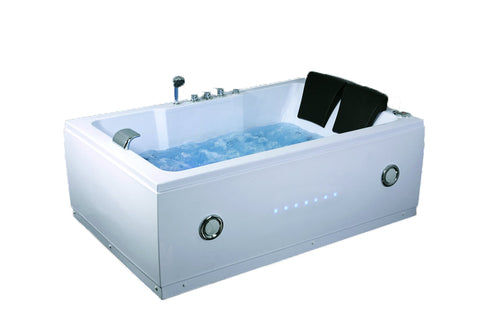 2 Person Indoor Whirlpool Jetted Hot Tub SPA Hydrotherapy Massage Bathtub 051A WHITE w/ Bluetooth